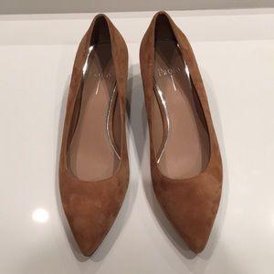 Linea Paolo tan suede block heel pumps 9.5